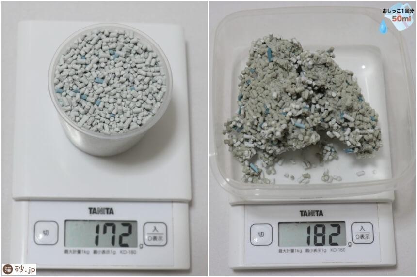 消臭剤から生まれたねこ砂(砂の重さ)