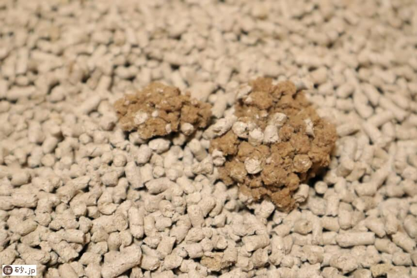 ガッチリ固まる木の猫砂(おしっこの固まり具合)