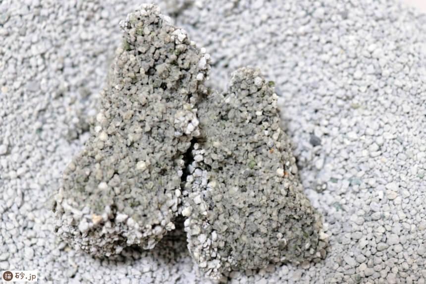 猫砂1番の固まりの断面