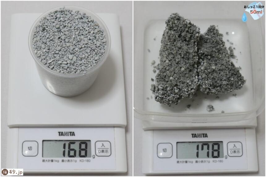 猫砂1番の砂の重さ